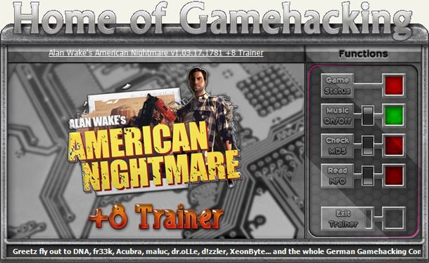 Alan Wake's American Nightmare GOG 1.03.17.1781 +8 Trainer [HoG]