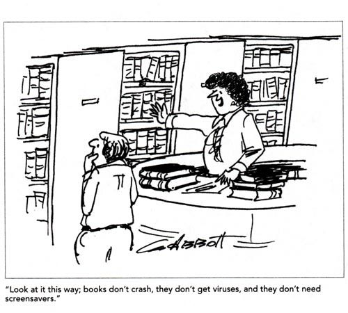 American Libraries Magazine: Cartoon - Books Don't Crash