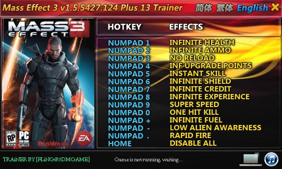 Mass Effect 3 v1.5.5427.124 +13 Trainer [FLiNG]